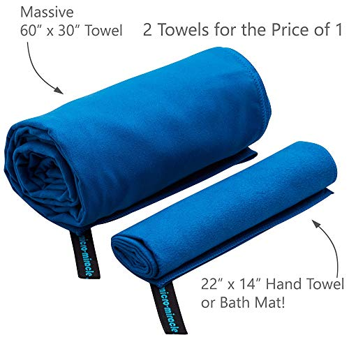 "Microfiber Travel Towel, XL 30x60"" - FREE Fast Dry Hand Towel - Our Super Absorbent Dry Towel is So Soft, Lightweight and Compact - Great for Camping, Gym or a Beach Towel, Includes Handy Carry Bag"