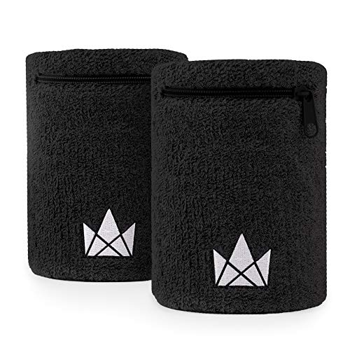 The Friendly Swede Zipper Sweatband Wristband, Wrist/Ankle Wallet for Jogging, Sports, Walking (2 Pack)