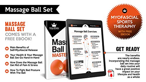 Lacrosse Massage Balls :: Hot or Cold Therapy Roller Set for Deep Tissue, Trigger Point & Myofascial Tensions Release :: New Ball Design for Back, Foot, Plantar Fasciitis, Yoga :: eBooks Included