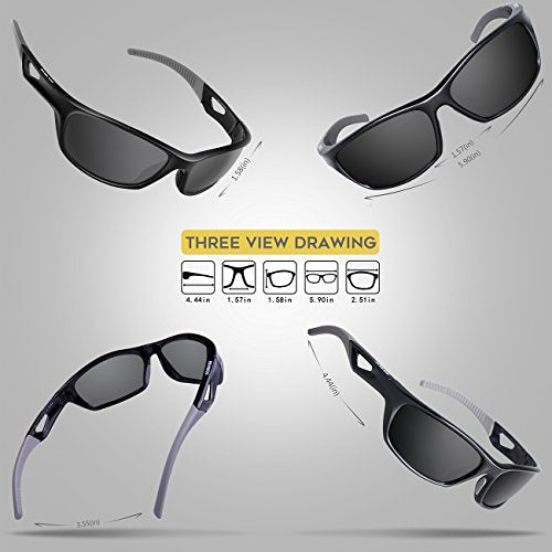 RIVBOS Polarized Sports Sunglasses Driving Sun Glasses Shades for Men Women Tr90 Frame for Cycling Baseball Running Rb831 Black&Grey