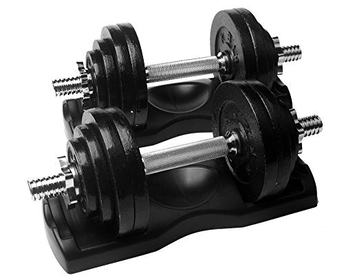 Ringstar Starring 105 200 Lbs Adjustable Dumbbells (65 Lbs Black With Trays)