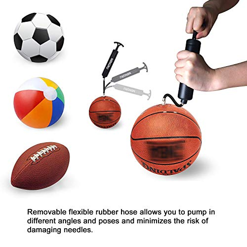 MINGRU Ball Pump for Basketball, Soccer, Volleyball, Rugby, Water Polo Ball & Other Inflatables Air Pump, Needles and Nozzles Included
