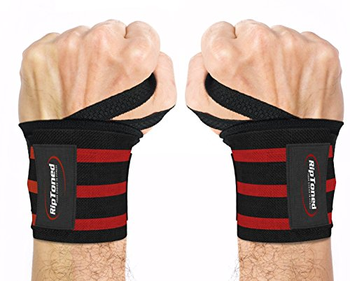 "Rip Toned Wrist Wraps 18"" Professional Grade with Thumb Loops - Wrist Support Braces for Men & Women - Weight Lifting, Crossfit, Powerlifting, Strength Training (Red Stiff)"