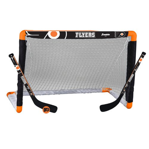 Franklin Sports Philadelphia Flyers Mini Hockey  Set   Knee Hockey Goal, Ball, & 2 Hockey Stick Comb
