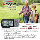 Image of 3DTriSport Walking 3D Pedometer with Clip and Strap, Free eBook | 30 Days Memory, Accurate Step Counter, Walking Distance Miles/Km, Calorie Counter, Daily Target Monitor, Exercise Time (Grey/Black)