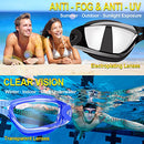 Image of Swim Goggles, Pack of 2, Swimming Goggles for Adult Men Women Youth Kids Child, Triathlon Equipment, with Mirrored & Clear Anti-Fog, Waterproof, UV 400 Protection Lenses, Made by COOLOO, Black/Blue