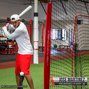 Image of PowerNet Baseball Softball Practice Net 7x7 with Deluxe Tee (Red) | Practice Hitting, Pitching, Batting, Fielding | Portable, Backstop, Training Aid, Large Mouth, Bow Frame | Training Equipment Bundle