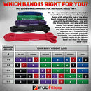 "Image of WODFitters Stretch Resistance Pull Up Assist Band with eGuide, #1 Red- 10 to 35 Pounds (1/2 ""4.5mm)"