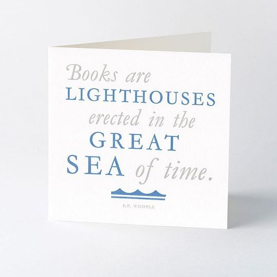 'Books are Lighthouses' - letterpress card