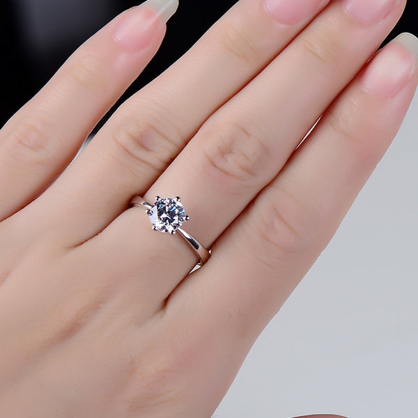 Crystal Six Claw Solitaire Ring