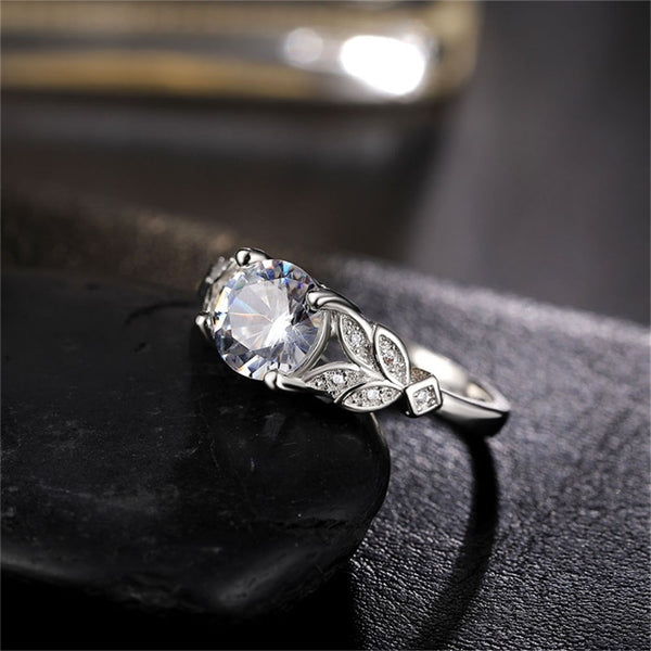 White Golden Rose Ring