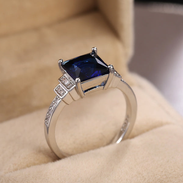 Blue Square Cut Four Claws Ring
