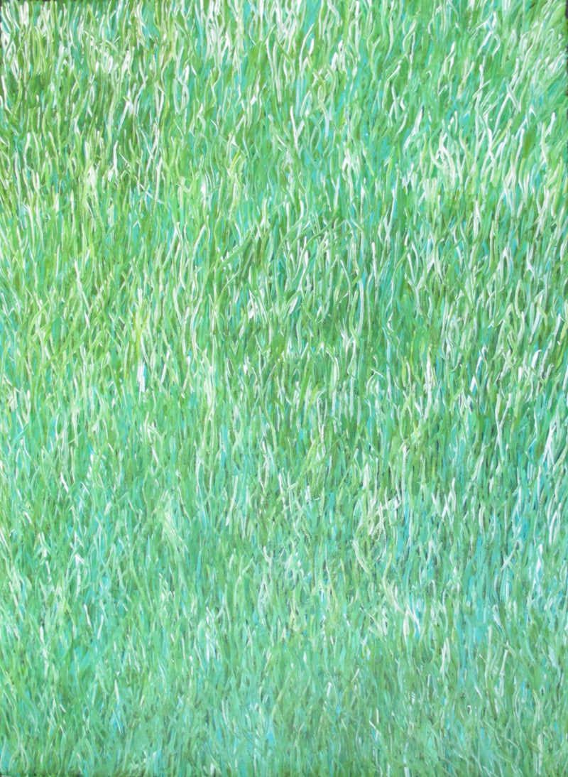 Title:  Grass Seed Dreaming (Green), size 118 x 85 cm.
