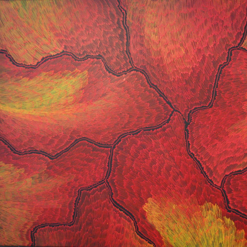 Title:  Lightening Dreaming (red/yellow), size 120 x 90  cm.