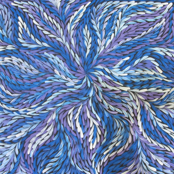 Title:  Bush Medicine Leaves (Blue), size 94 x 50 cm.