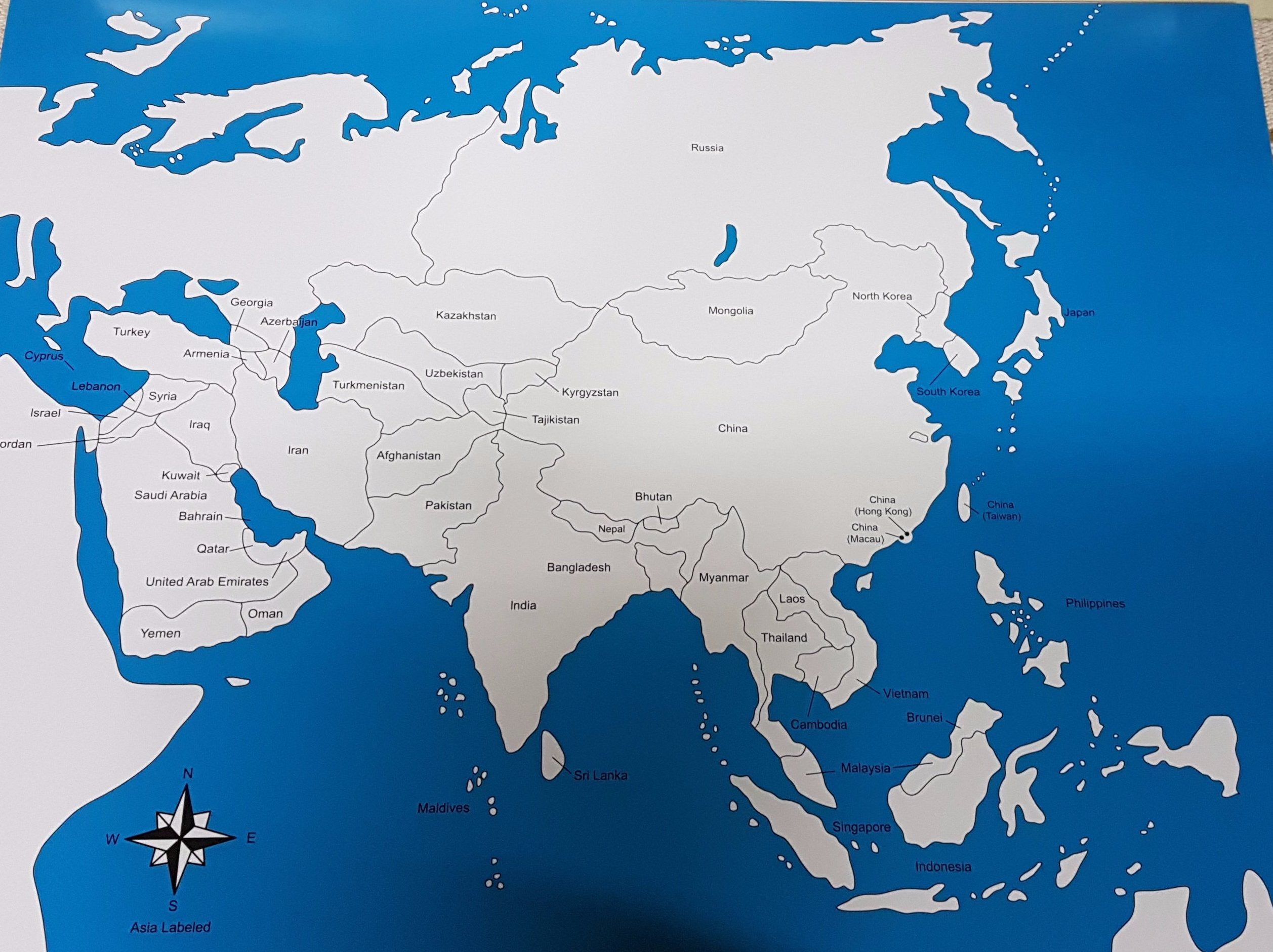 Labelled and Unlabeled - Asia Map