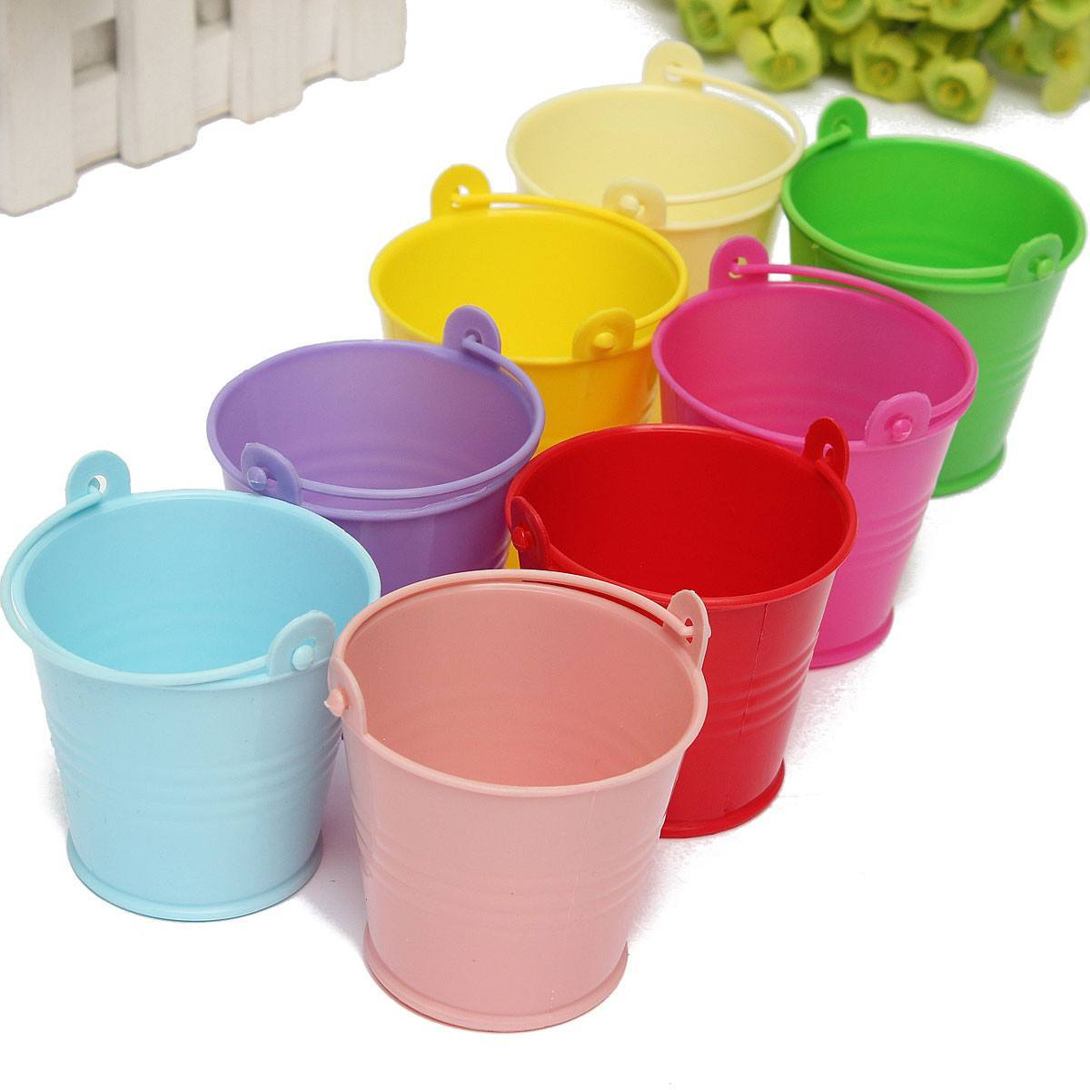 Metal tin bucket pail with handle small righttolearn for Small pail buckets
