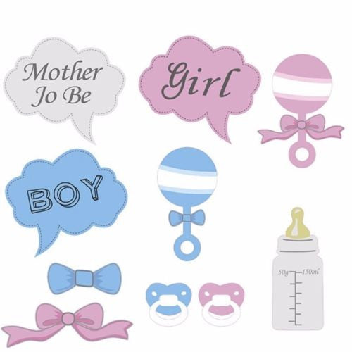 10pcs Baby Shower Boy Girl Mother To Be Party Photo Booth Props