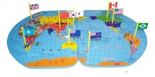 Map Of World Flags.World Map With World Flags Bilingual Righttolearn Com Sg