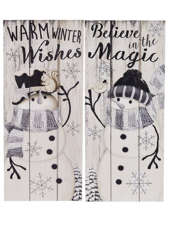 Winter Snowman Light Up Box Plaques