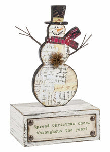 Snowman Holiday Wood Figure