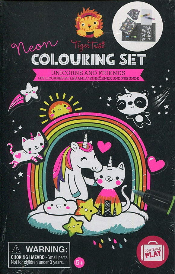 Neon Coloring Set - Unicorn & Friends