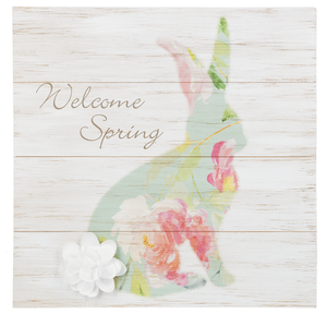 'Welcome Spring' Wooden Bunny Plaque