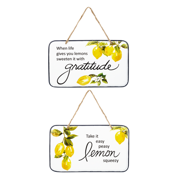 Lemon Themed Enamel Plaques