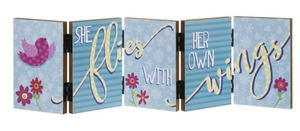 She Flies with Wings Accordion Sign
