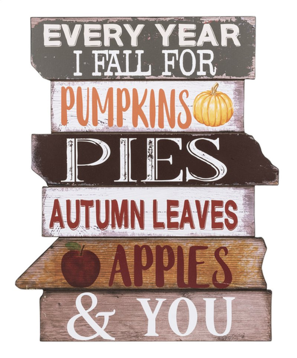 Every year I fall for...Wooden Autumn Plaque