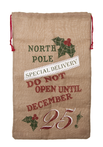 North Pole Burlap Santa Bag