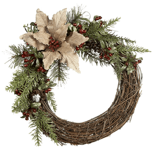 Natural Branch Burlap Poinsettia Wreath