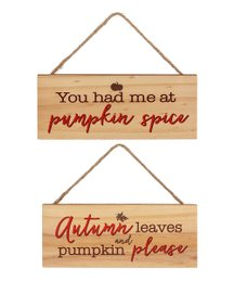 Fall Natural Wood Hanging Plaques
