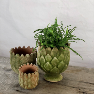 Aged Pinecone Planter