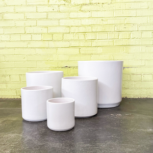Deep Cylinder Planter White