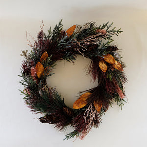 Faux Pine & Tinsel Wreath
