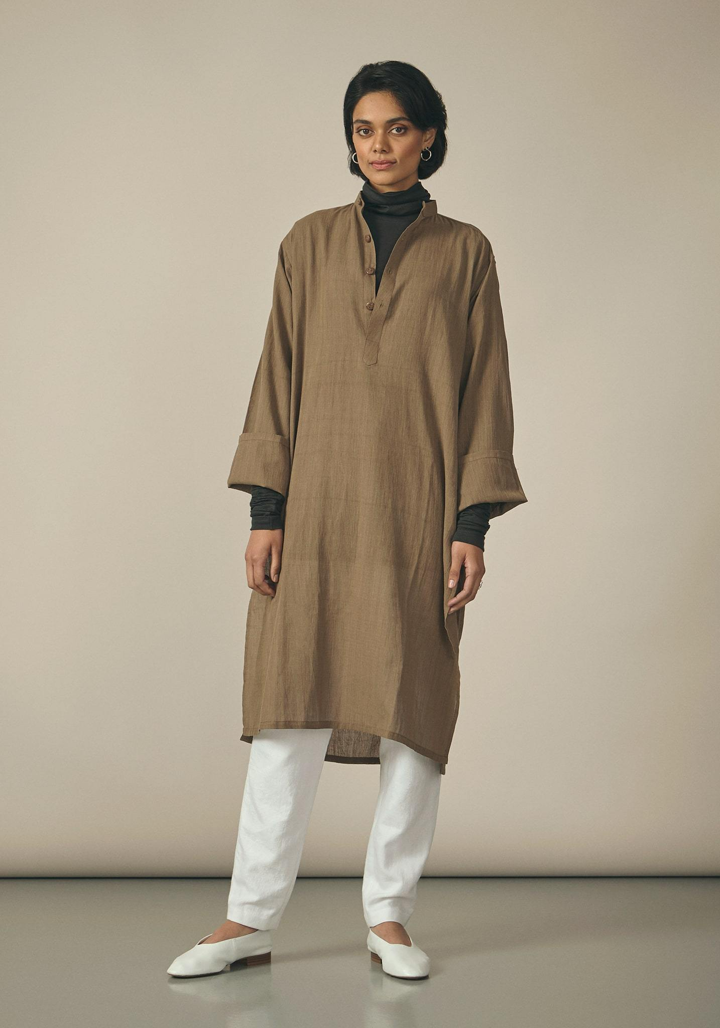 Koel, Cotton Brown Kurta
