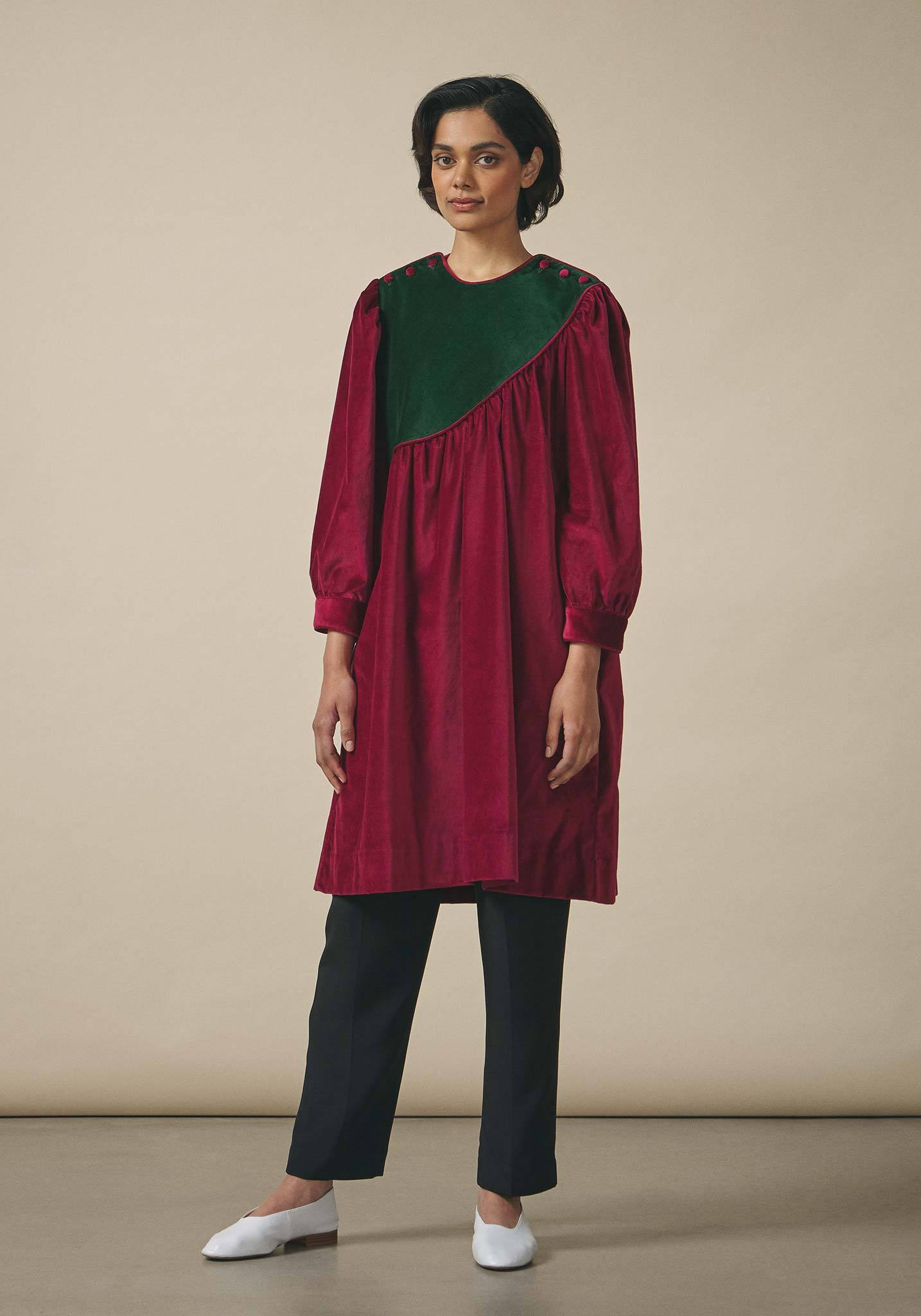 Batsheva, Cabernet Velvet Shift Dress