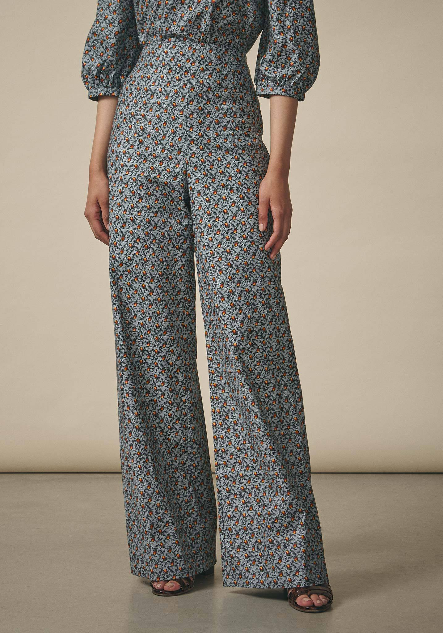 Batsheva, Blue Floral Wide Leg Trousers