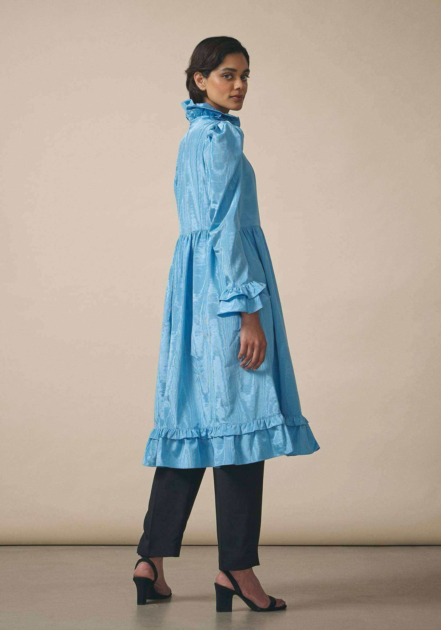 Batsheva, Blue Moire Prairie Dress