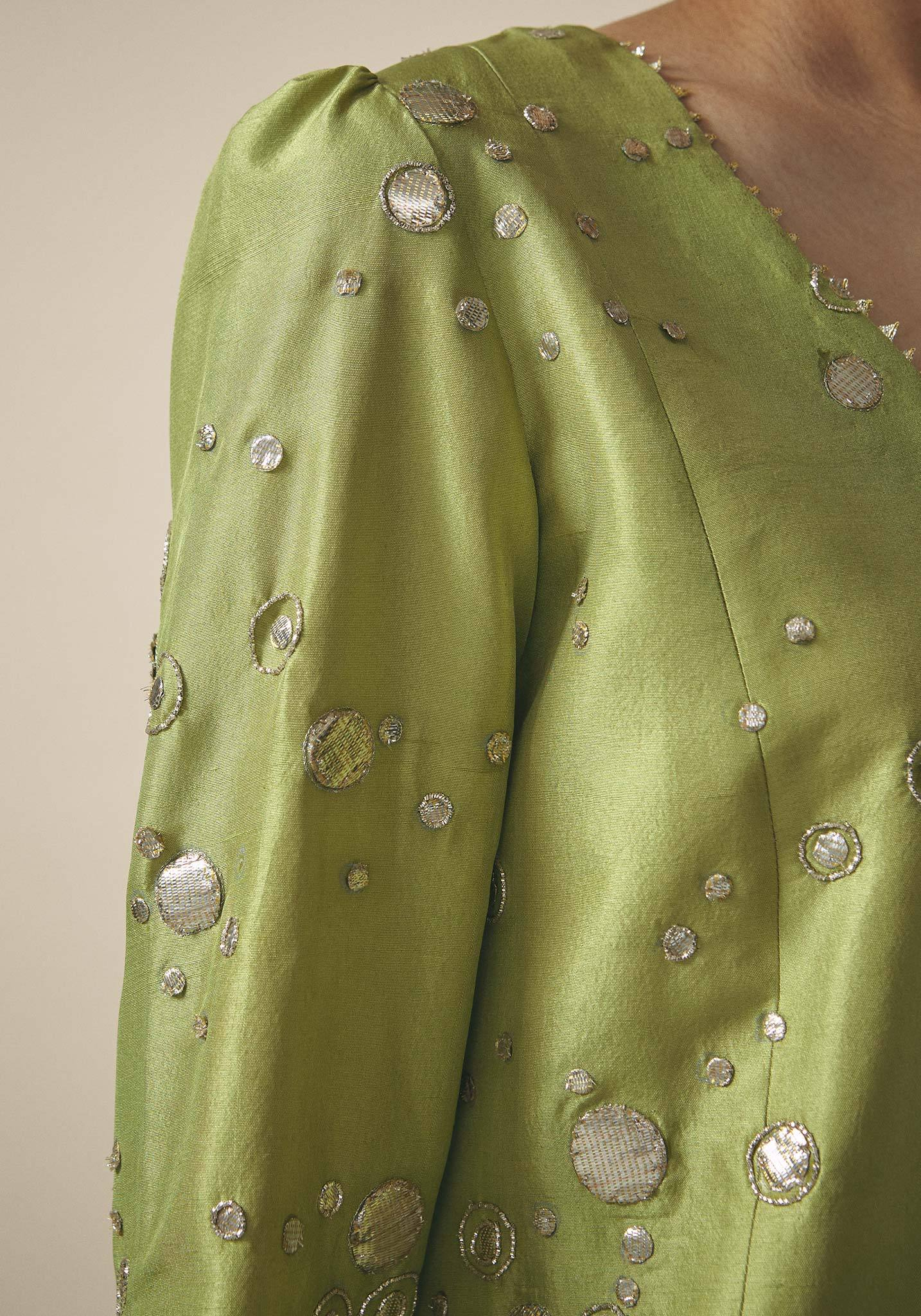 Zara Shahjahan, Green Silk Embroidered Kameez
