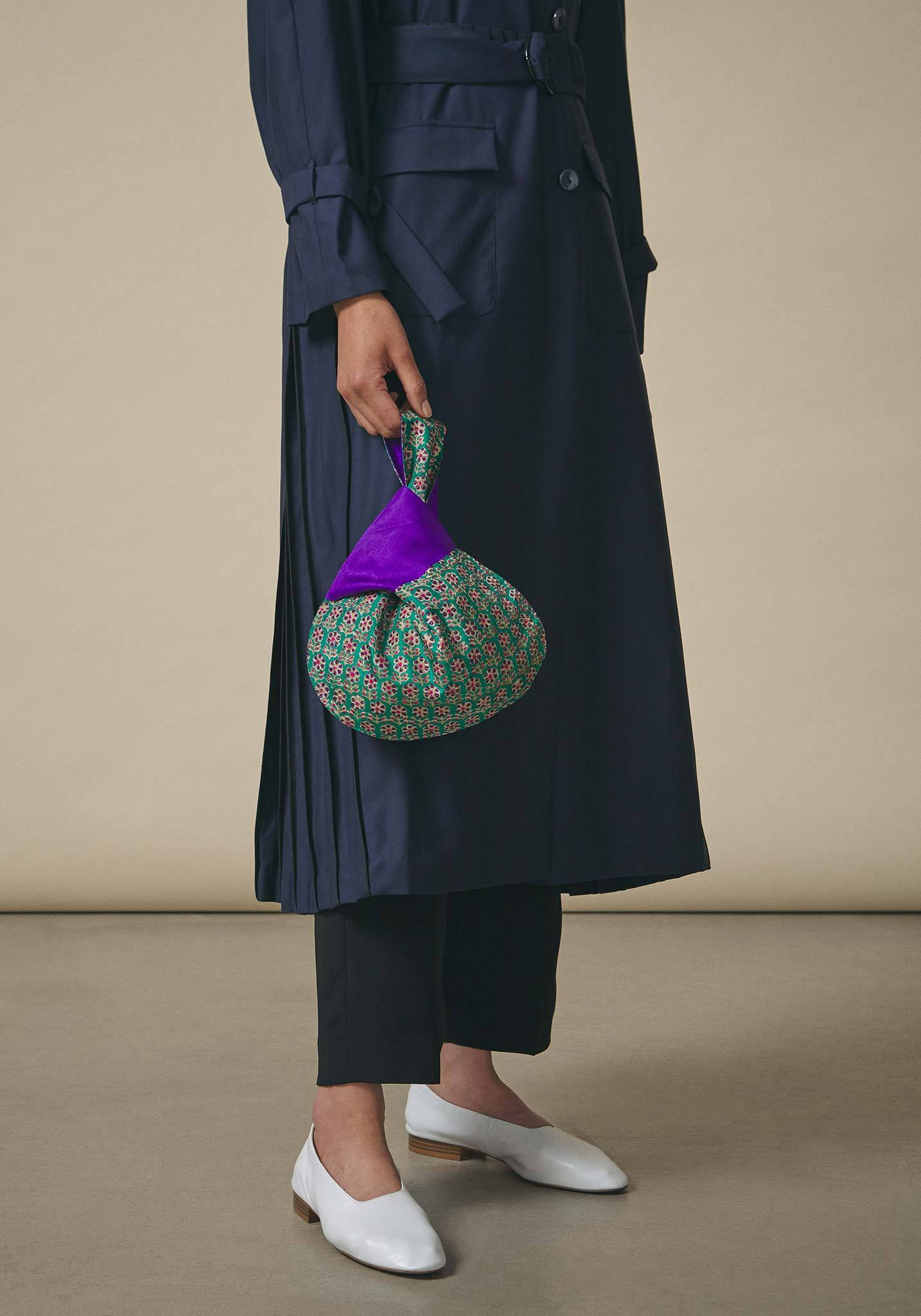 Koel, Mini Tie Bag Purple and Green Flower Print
