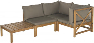 Lynwood Modular Teak Brown 2-Piece Outdoor Sectional Set with Taupe Cushions - Kenner Habitat for Humanity ReStore