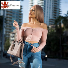 Load image into Gallery viewer, Off Shoulder Crop Top Tank Top Sexy Ribbed Knitted Streetwear Basic Tees Slim Fit Camis 2020