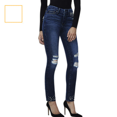 Pearl Studded Ripped Stretch Denim Jeans Pants Straight Beading
