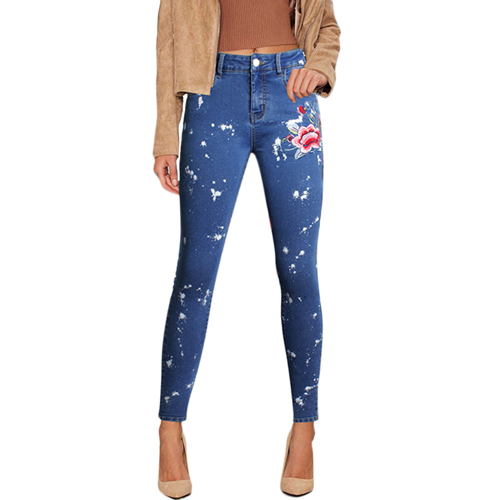 Vintage Flower Embroidery Denim Jeans Pencil Stretch Pants Skinny Trousers High waist