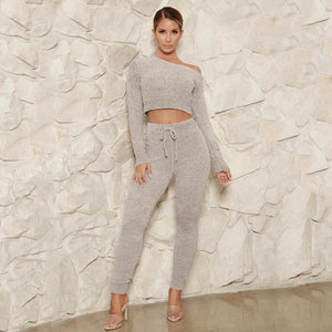 Two Piece Casual Long Sleeve Crop Top  Solid Elastic Waist Pants Women Tracksuit Autumn Fall Spring