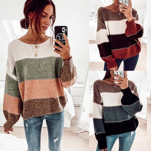 Women's Striped Long Sleeve Knitted Sweater Autumn Winter Top Contrasting Color Pullover Casual
