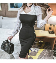 Load image into Gallery viewer, Patchwork Strapess Bodycon Dress Autumn Sheath Pencil Korean Slim Vestido 2020