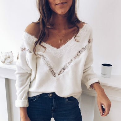 Women V-Neck Long Sleeve Oversize Streetwear Sweater Autumn Spring Casual Loose Thin Tops
